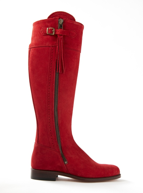 Spanish Riding Boot in Red Suede With Leather sole